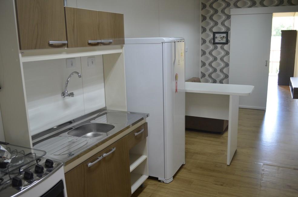 Mobiliados, apartamentos de contêiner têm aluguel médio de R$ 780, diz empresário de Piracicaba (Foto: Hildeberto Jr./G1)