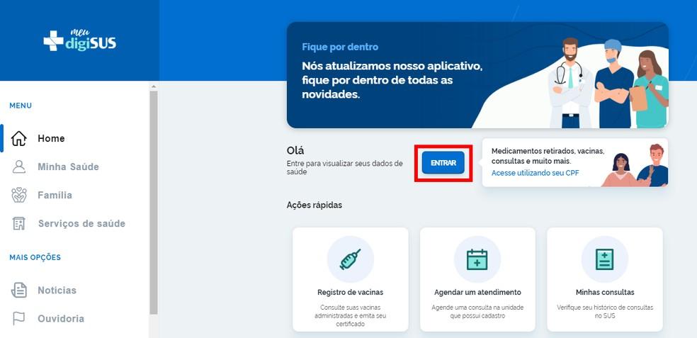 Portal Meu DigiSUS oferece vários serviços — Foto: Reprodução/Rodrigo Fernandes