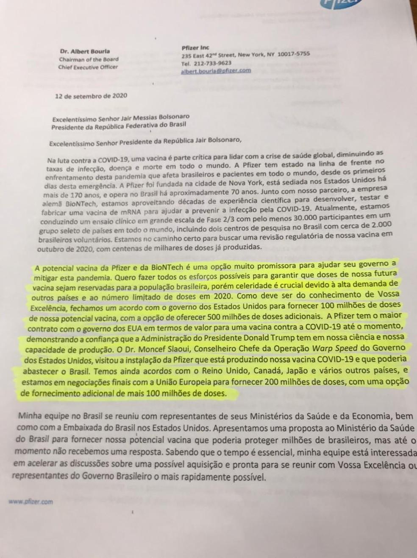 Primeira página da carta enviada pela Pfizer ao governo brasileiro — Foto: Reprodução