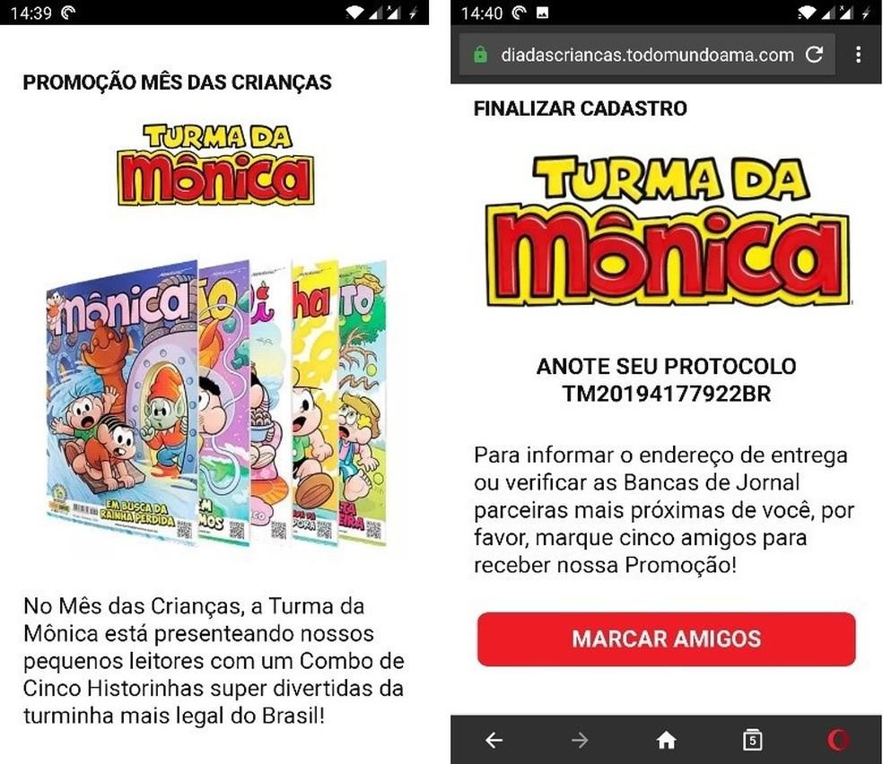 Golpe no WhatsApp usa marca da Turma da Mônica para tentar roubar dados dos usuários — Foto: Reprodução/Kaspersky