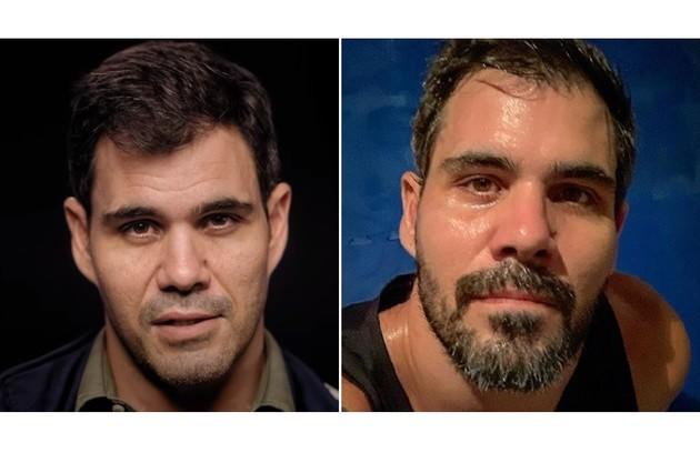 Juliano Cazarré, de 'Amor de mãe', apareceu de cavanhaque ao compartilhar seu treino na web (Foto: Divulgação e Reprodução)