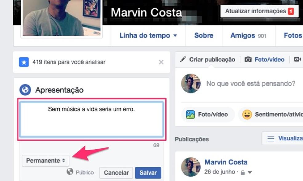 Ação para visualizar as opções de período em que uma biografia ficará disponível no Facebook (Foto: Reprodução/Marvin Costa)