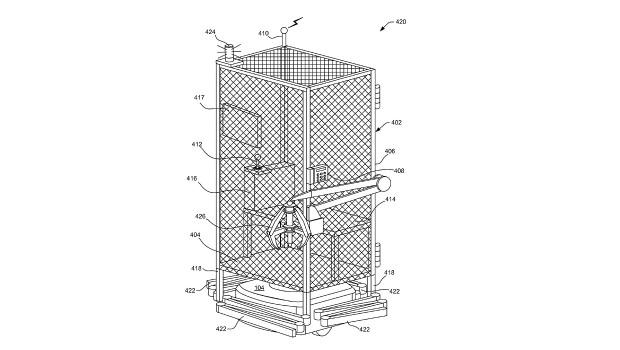 Jaula para humanos patenteada pela Amazon (Foto: Reprodução/U.S. Patent and Trademark Office)