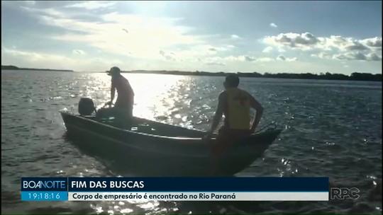 Equipes encontram corpo de empresário cianortense no rio Paraná