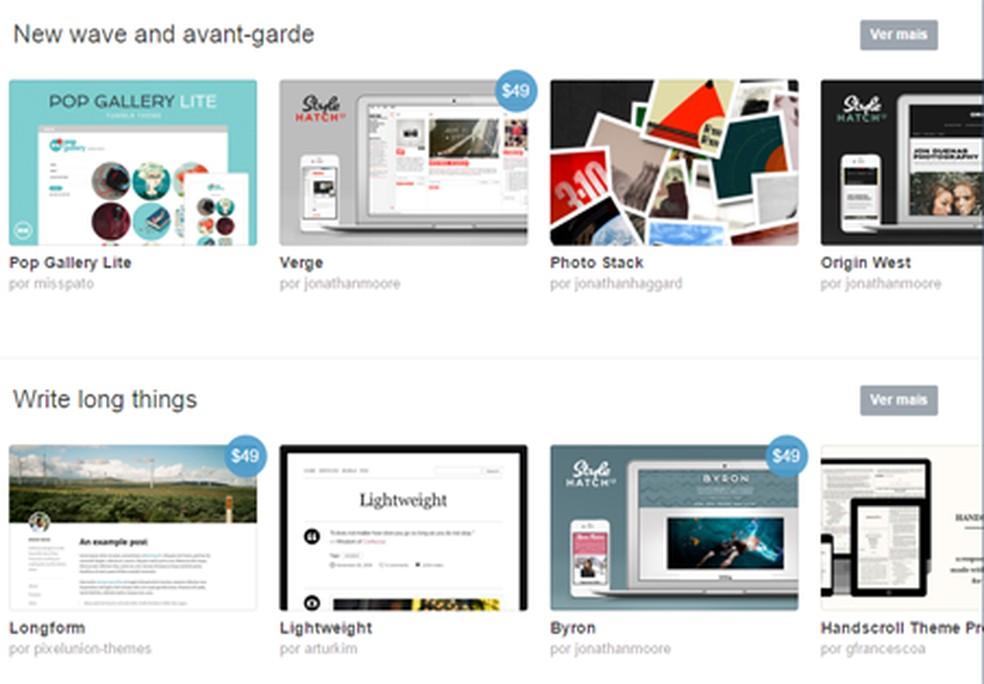 Tumblr tem blog com vários temas diferentes para usuários — Foto: Reprodução/Tumblr