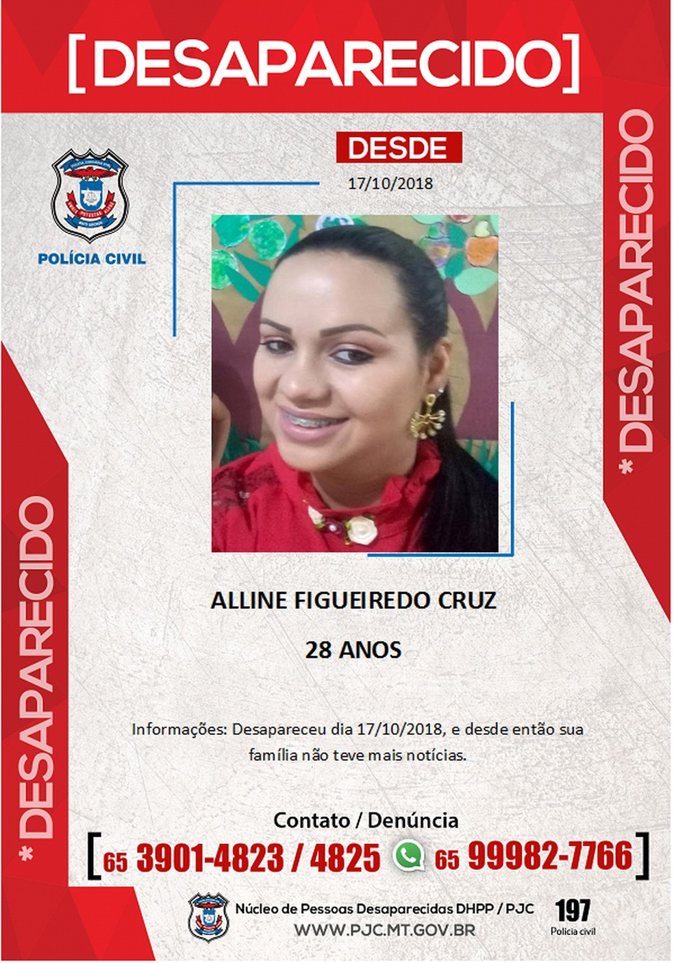 Polícia chegou a divulgar cartaz sobre desaparecimento de Alline — Foto: Polícia Civil de Mato Grosso/Assessoria