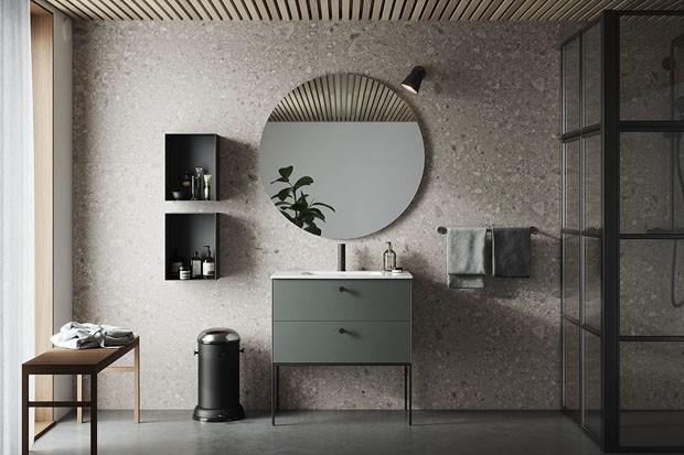 Décor do dia: banheiro contemporâneo cinza esverdeado (Foto: Divulgação)