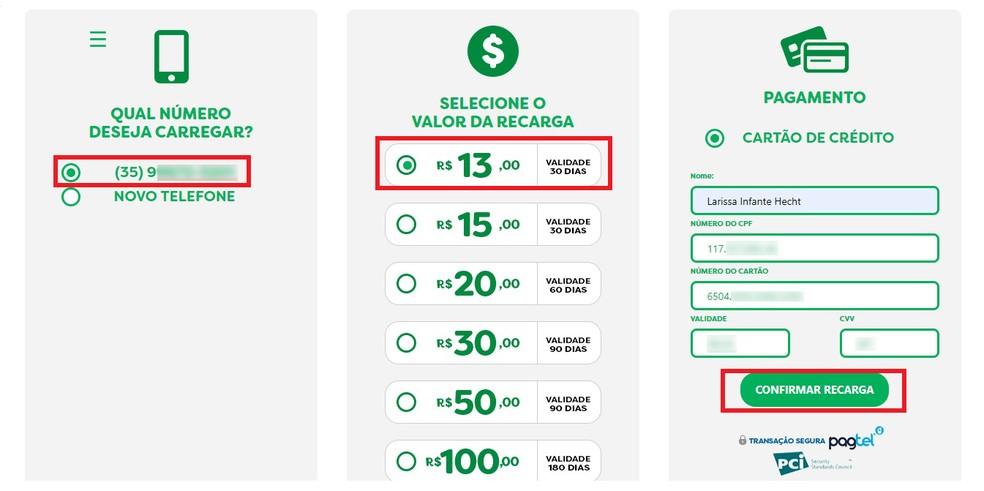 Confira o número do celular que deseja recarregar, selecione o valor e digite os dados do cartão de crédito para efetuar a recarga  — Foto: Reprodução/Larissa Infante