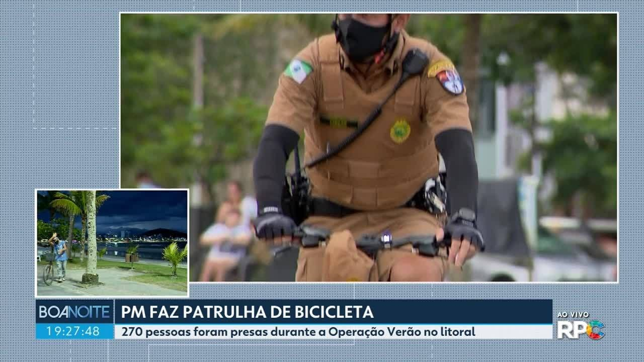 Polícia Militar faz patrulha de bicicleta nas praias
