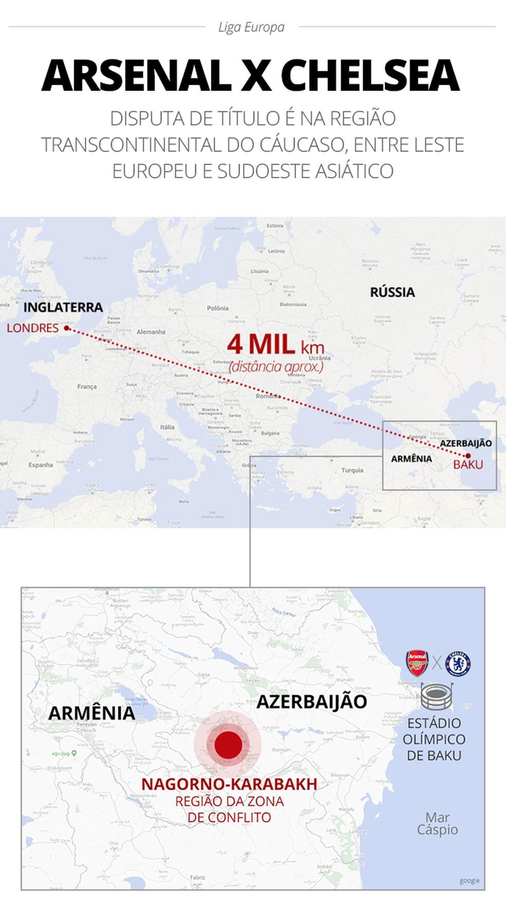 Mapa da final da Liga Europa — Foto: Infografia GloboEsporte.com