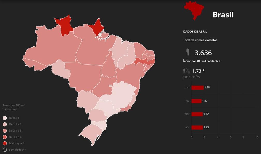 Mapa mostra mortes violentas em abril — Foto: Arte/G1