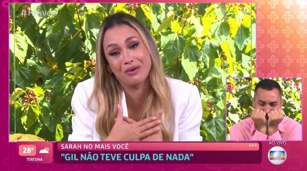 Gil se emociona com palavras da amiga Sarah — Foto: TV Globo