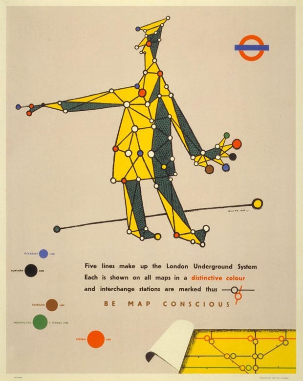 Pôster <em>Be map conscious</em>, 1945, de Lewitt Him
