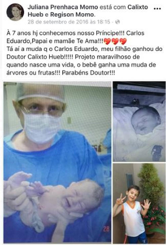 Pelas redes sociais as mães agradecem ao médico pelo nascimento do filho e pelas mudas; ambos crescem juntos — Foto: Arquivo Pessoal