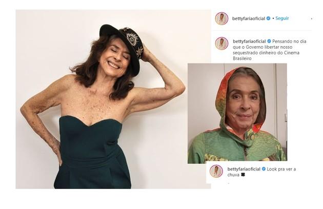 Betty Faria, de 79 anos, brinca com o estilo e com a quarentena; E usa a ironia para passar mensagens de cunho social (Foto: Reprodução/Instagram)