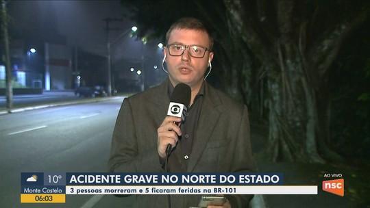 Acidente deixa três mortos e dois feridos na BR-101 em Araquari