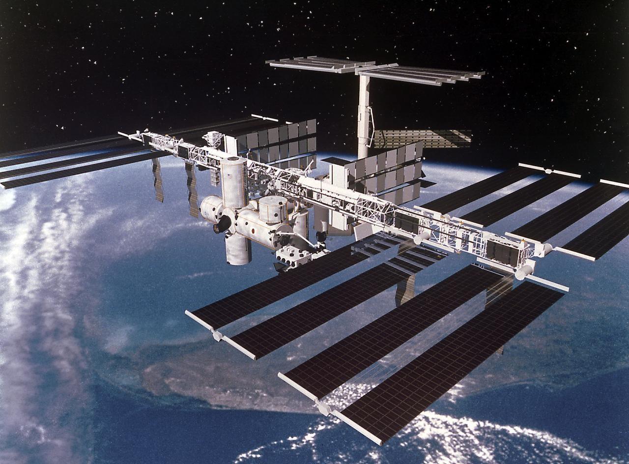 A Estação Espacial Internacional é um laboratório em órbita com a Terra. Lá, os astronautas criaram carne sintética pela primeira vez no espaço (Foto: NASA)