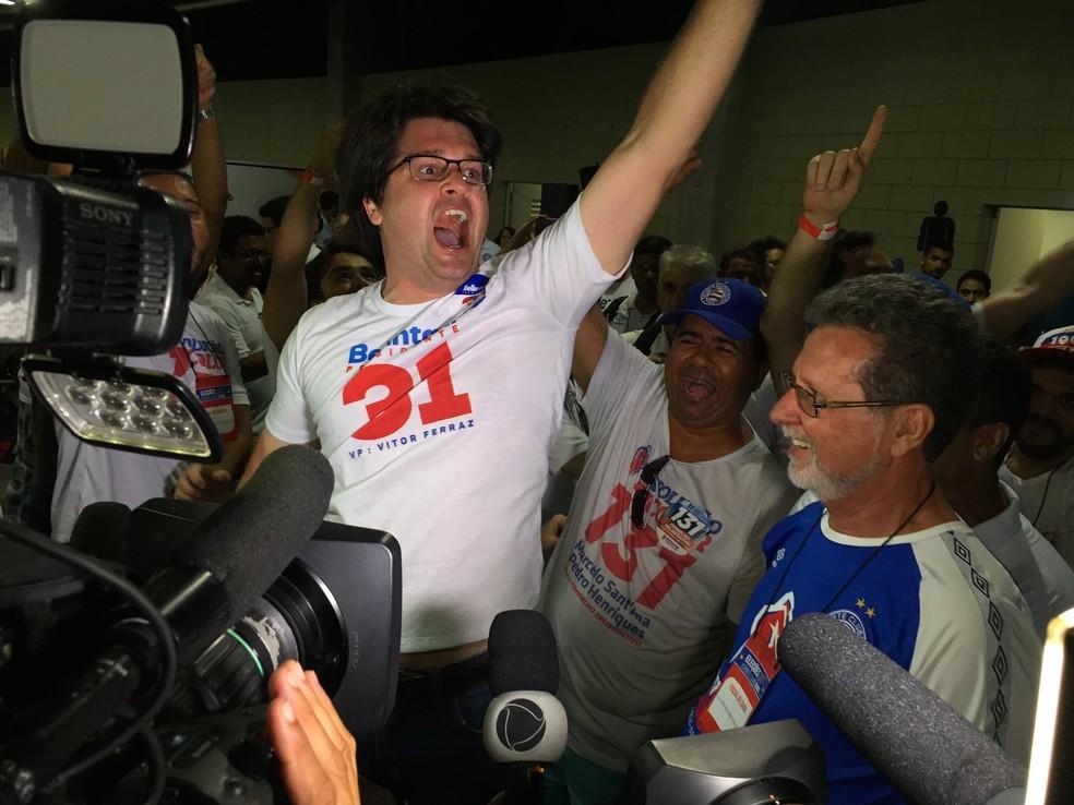 Guilherme Bellintani comemora resultado da eleição — Foto: Divulgação/E.C. Bahia