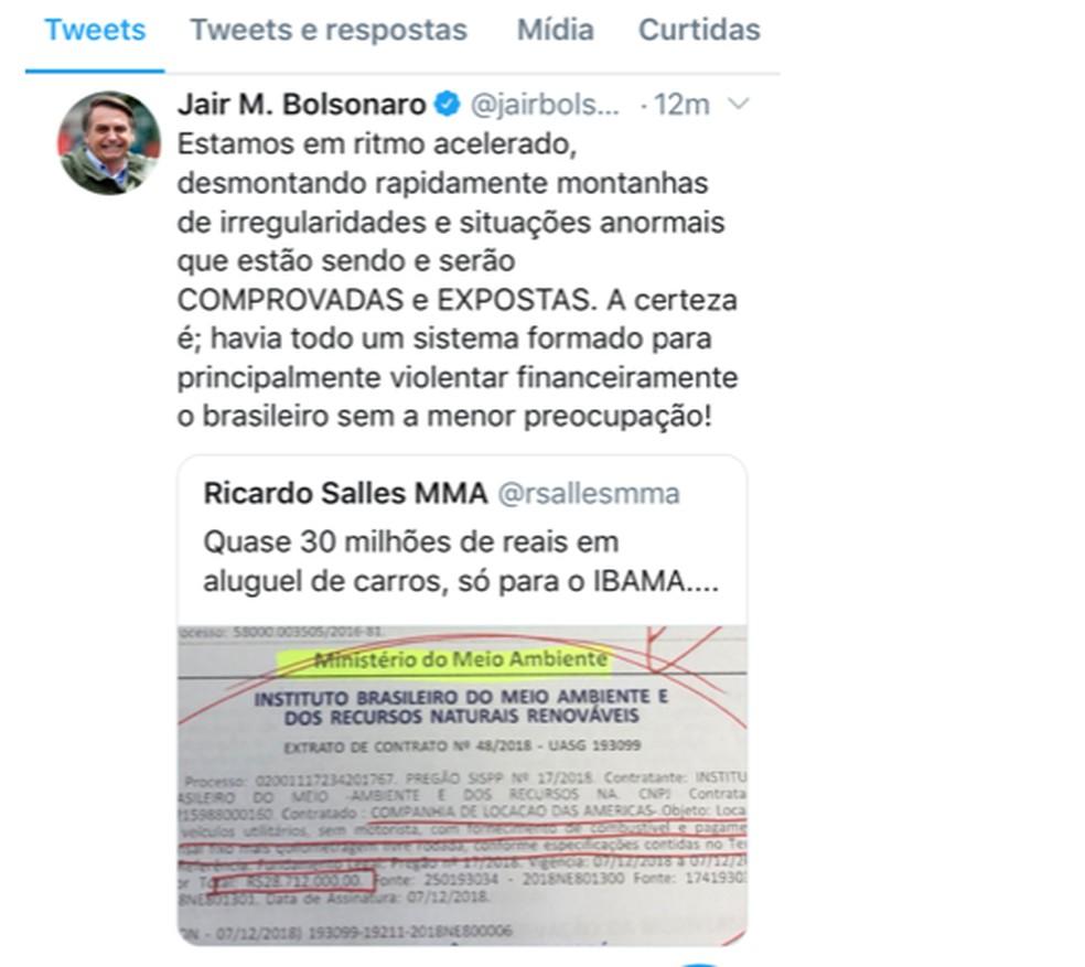 Texto que Bolsonaro escreveu no Twitter, sobre declaração do ministro do Meio Ambiente, e depois apagou — Foto: Reprodução/Twitter