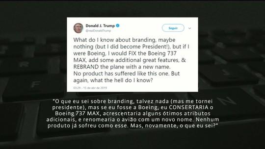 Trump diz que Boeing deveria mudar nome do 737 MAX após acidentes