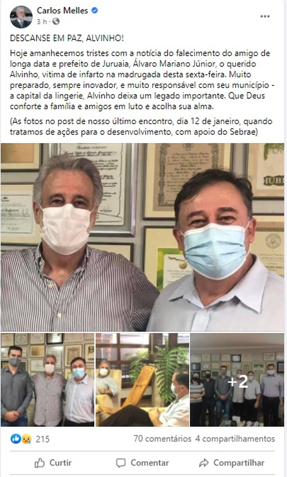 Carlos Melles publicou nota sobre a morte do Prefeito Alvinho de Juruaia (MG) — Foto: Redes Sociais