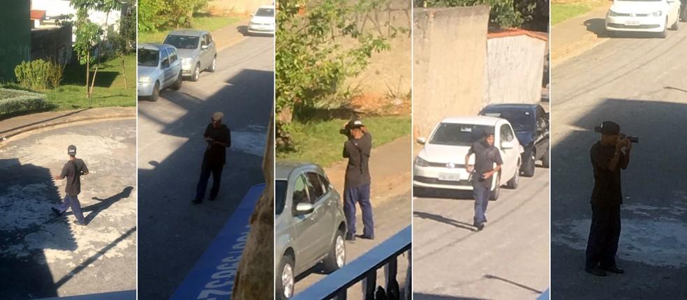 Moradores tiraram fotos do jovem após considerarem a atitude dele como 'suspeita' — Foto: Reprodução/Facebook