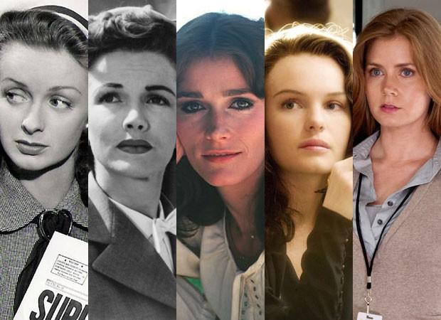 Noel Neill em 'Superman', Phyllis Coates em 'Superman and the mole man', Magot Kidder em 'Superman', Kate Bosworth em 'Superman - o retorno' e Amy Adams em 'O homem de aço' (Foto: Divulgação)