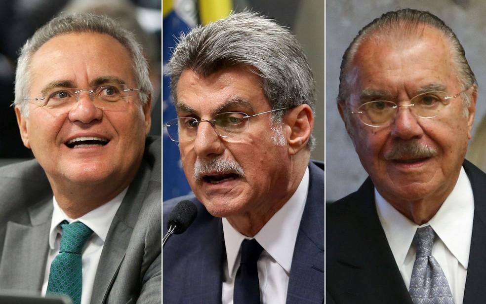 Da esq. para a dir.: Renan Calheiros, Romero Jucá e José Sarney (Foto: Wilson Dias/Agência Brasil; Marcelo Camargo/Agência Brasil )