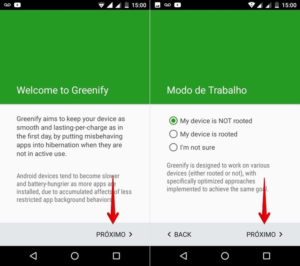 Iniciando configuração do Greenify (Foto: Reprodução/Helito Bijora)