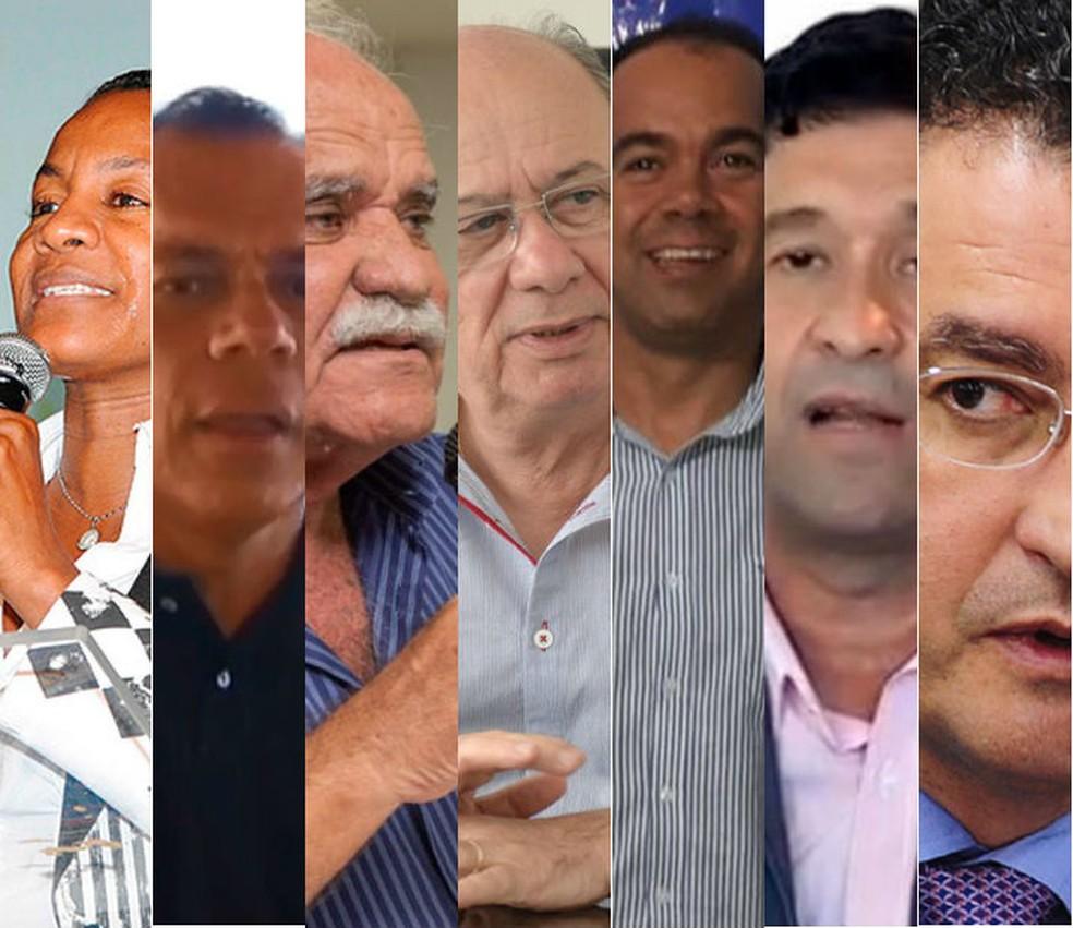 Sete partidos já anunciaram seus pré-candidatos ao cargo de governador da Bahia (Foto: Arte/G1)