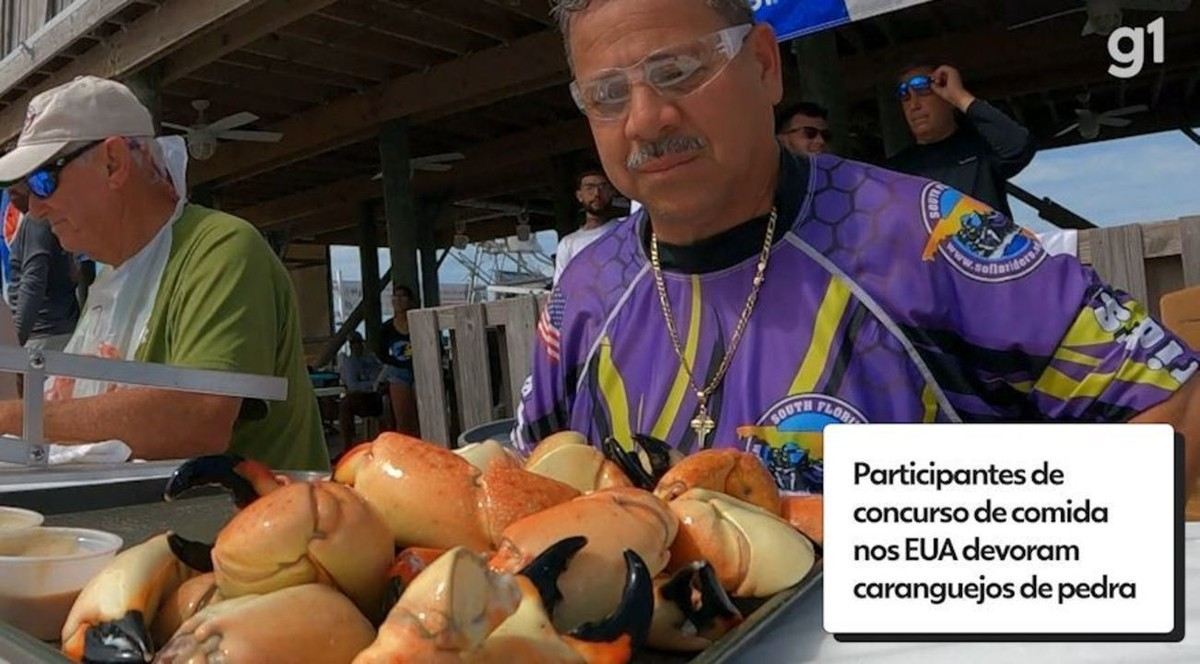 Americanos devoram uma bandeja cheia de caranguejo em competição na Flórida; veja vídeo