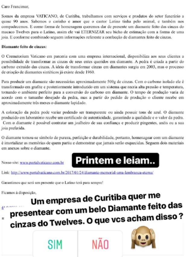 E-mail da empresa de cremação (Foto: Reprodução/Instagram)