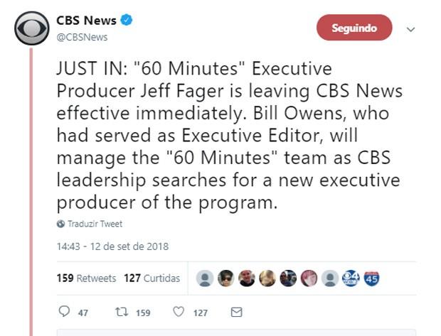 CBS confirma demissão de Jeff Fager após assédio sexual (Foto: Reprodução/Twitter)