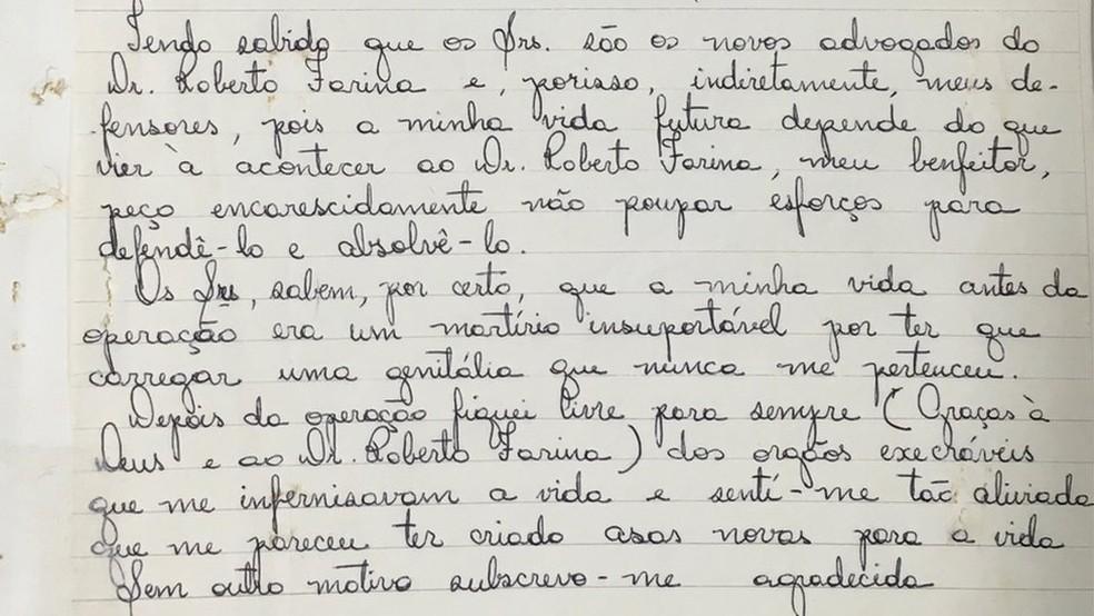 Carta de Waldirene para os advogados do médico Roberto Farina, em 1978, após a condenação em primeira instância (Foto: BBC Brasil)