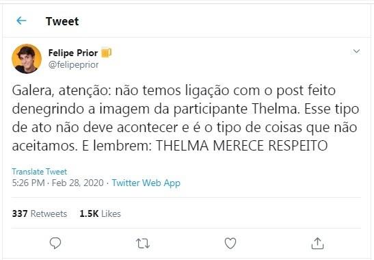 Equipe de Felipe Prior posta comunicado no Twitter (Foto: Reprodução/Instagram)
