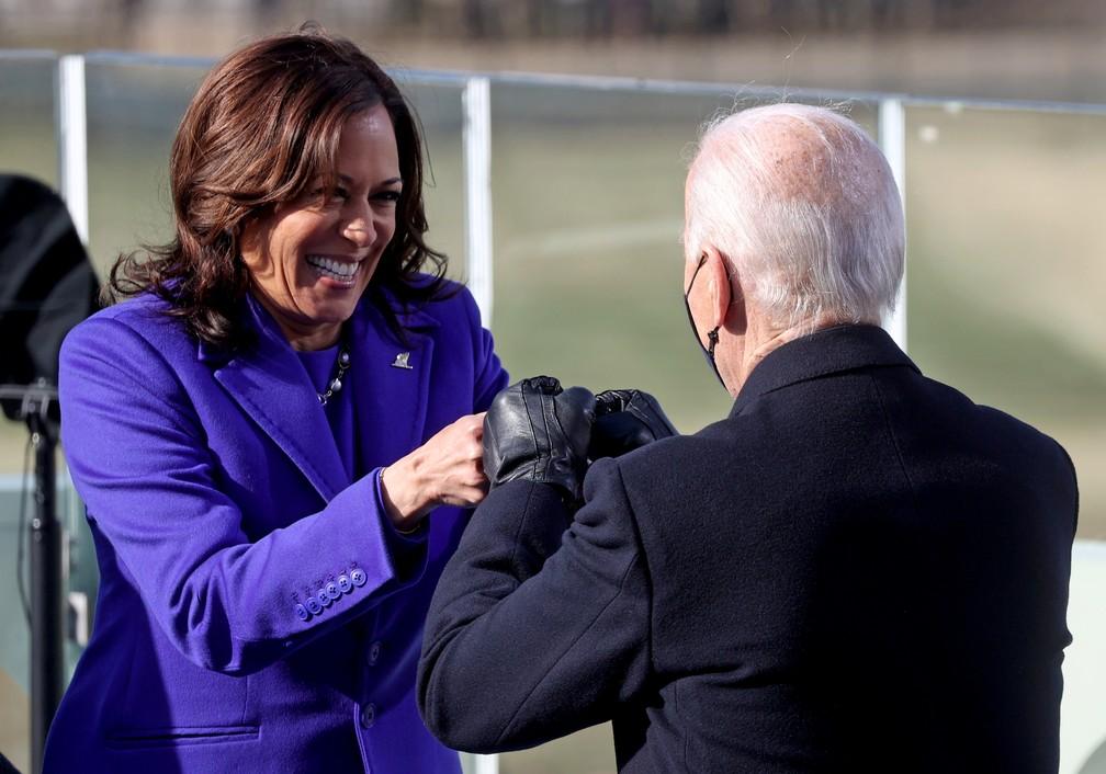 Kamala Harris e Joe Biden na cerimônia de posse, em Washington — Foto: Jonathan Ernst/Reuters