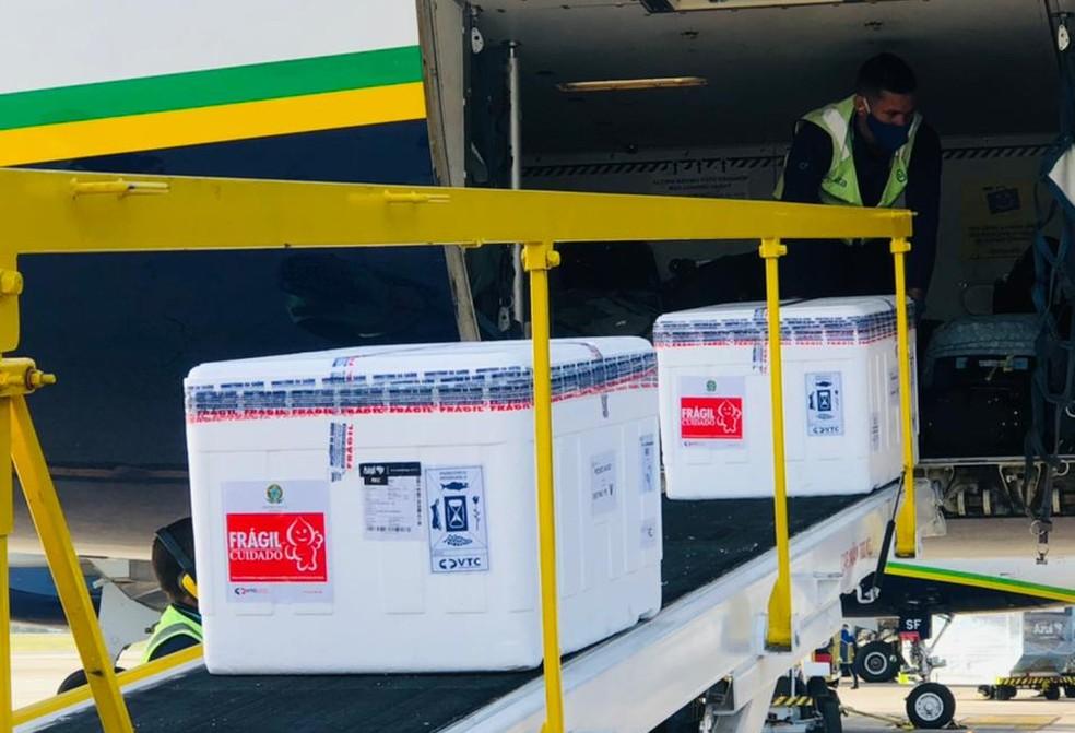 Mais 187 mil doses da vacina contra a Covid-19 chegaram a Pernambuco — Foto: Azul/Divulgação