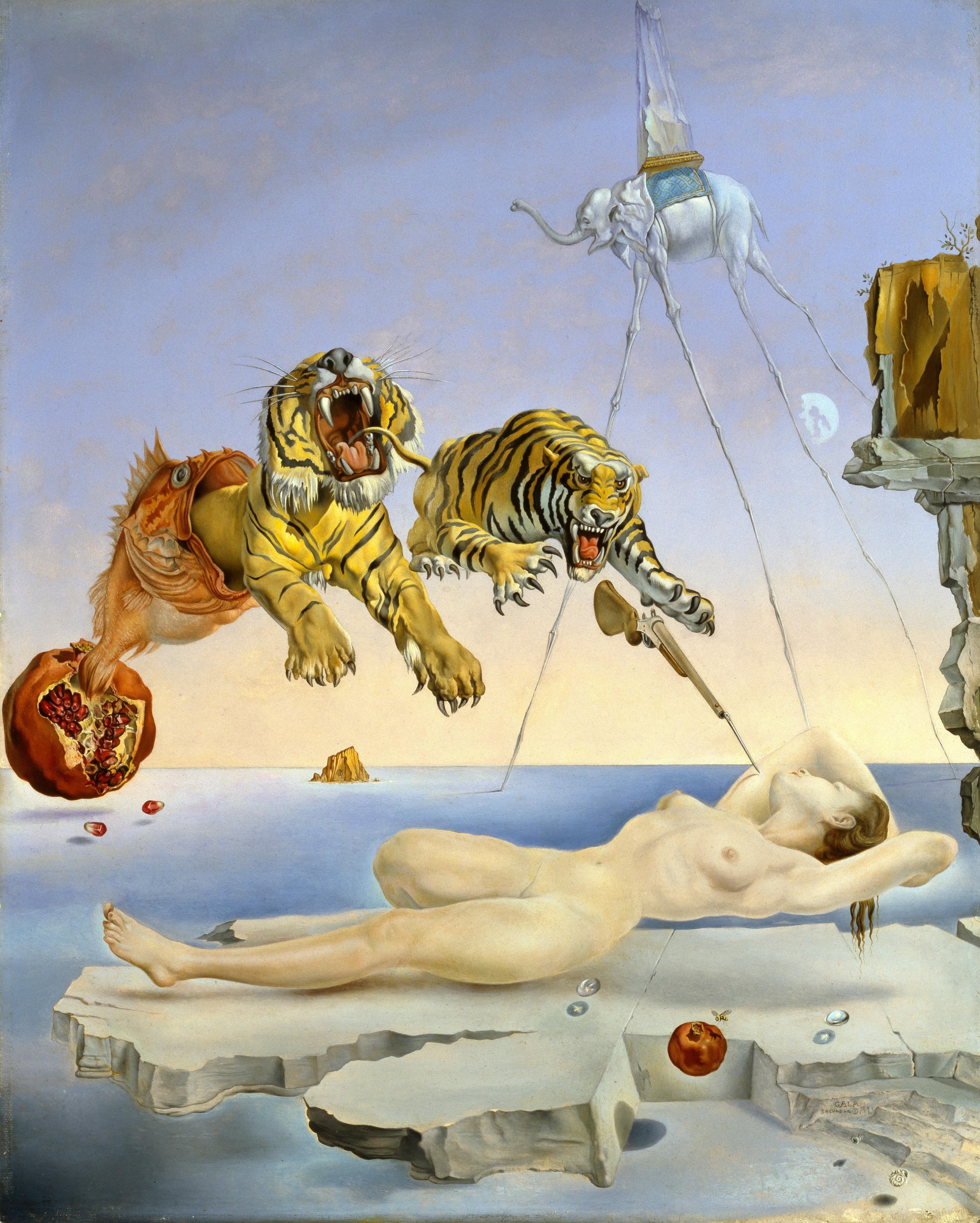Sonho Causado pelo Voo de uma Abelha ao Redor de uma Romã um Segundo Antes de Acordar 1944 (Foto: Salvador Dalí, Fundación Gala-Salvador Dalí, VEGAP, Barcelona, 2011)
