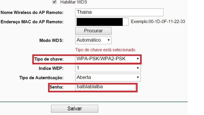 Escolha a criptografia e coloque a mesma senha do roteador-base (Foto: Reprodução/Gabriel Ribeiro)