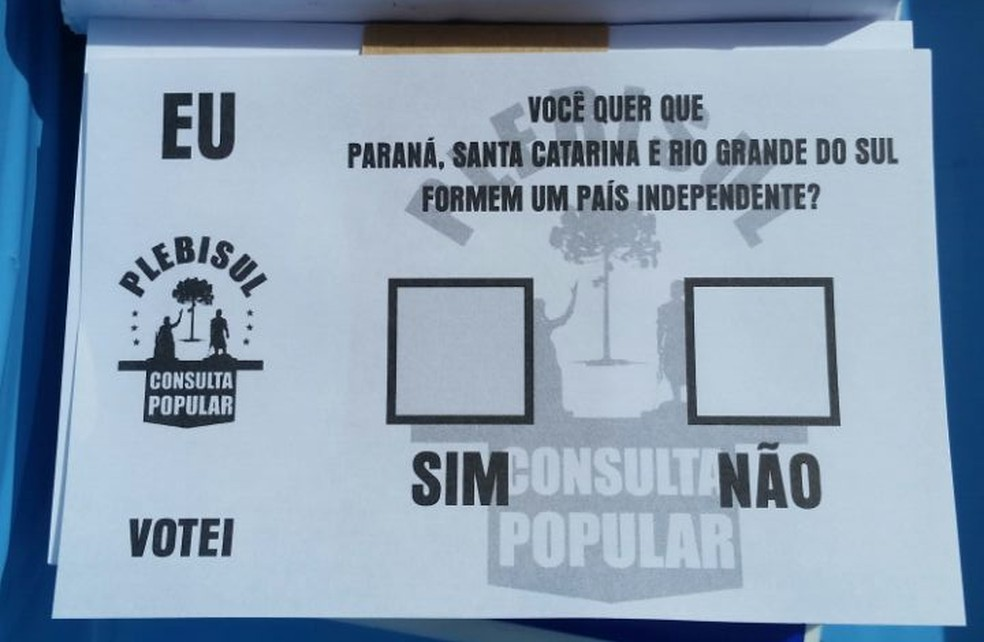 Cédula de votação do plebiscito informação sobre a separação do Sul do país (Foto: Alexandra Freitas/G1)