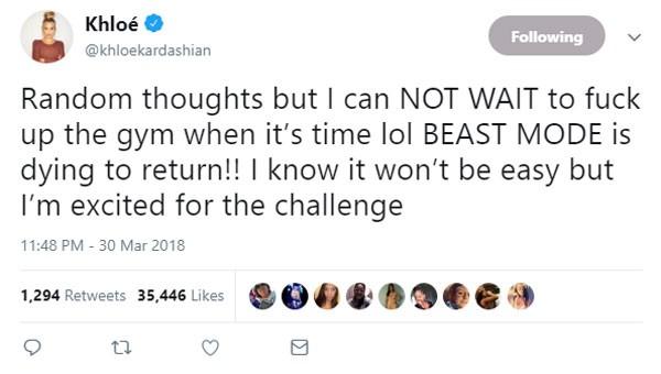 Postagem de Khloé sobre o seu enorme desejo de voltar à academia (Foto: Reprodução/Twitter)