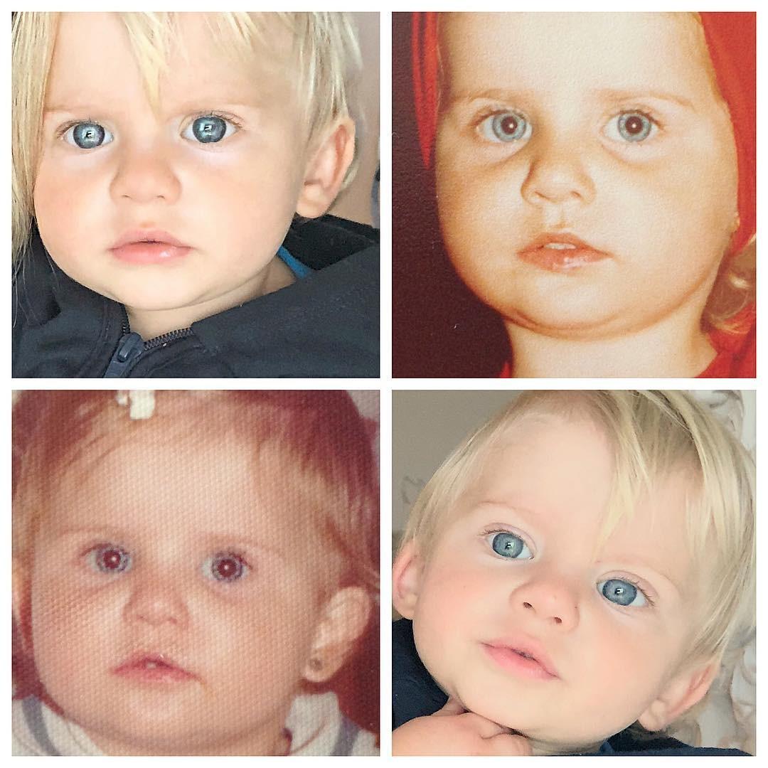 Karina Bacchi mostra semelhança com filho  (Foto: Reprodução)