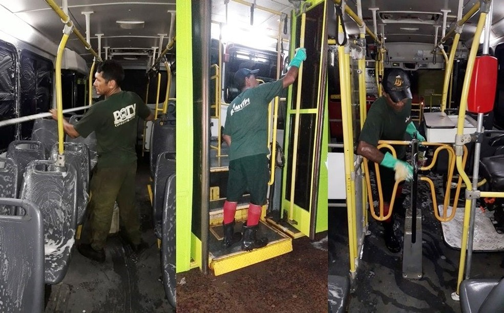 Equipes fazem limpeza em ônibus do transporte público de Teresina durante surto de coronavírus — Foto: Divulgação/Strans