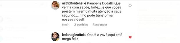 Comentários de Astrid Fontenelle e Leda Nagle em post da gravidez de Duda Nagle e Sabrina Sato (Foto: Reprodução/Instagram)