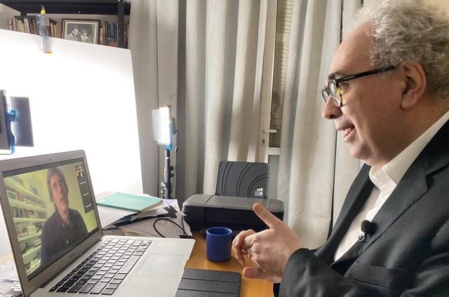 Amir Labaki entrevista Walter Salles (Foto: Frico Guimarães)