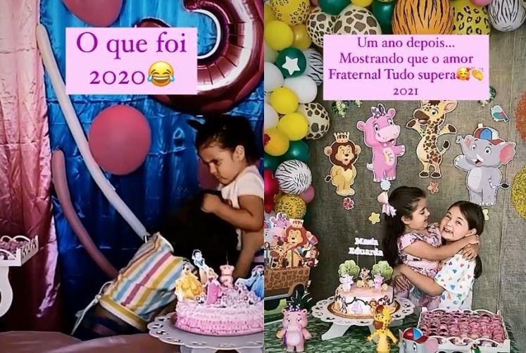 Um ano depois de briga que viralizou, irmãs demonstram carinho em nova festa de aniversário; VÍDEO