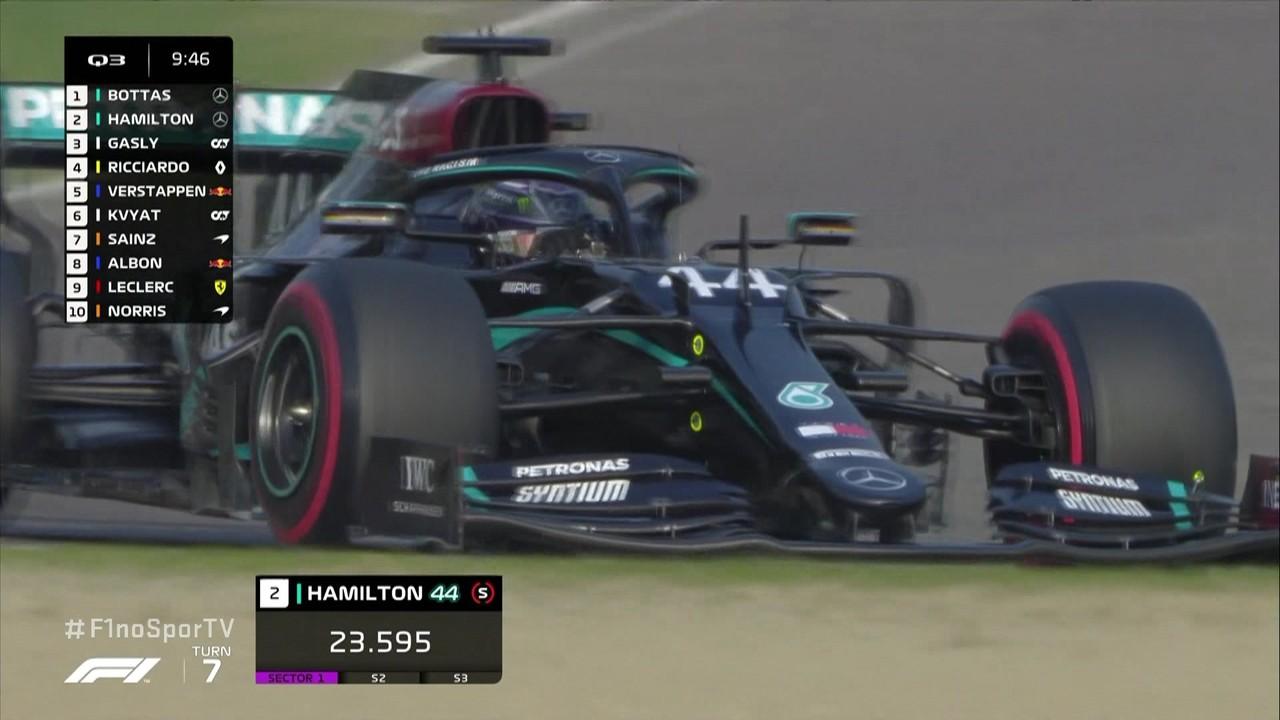 Hamilton faz o melhor tempo do Q3 com 1m13s781 e Bottas fica logo atrás