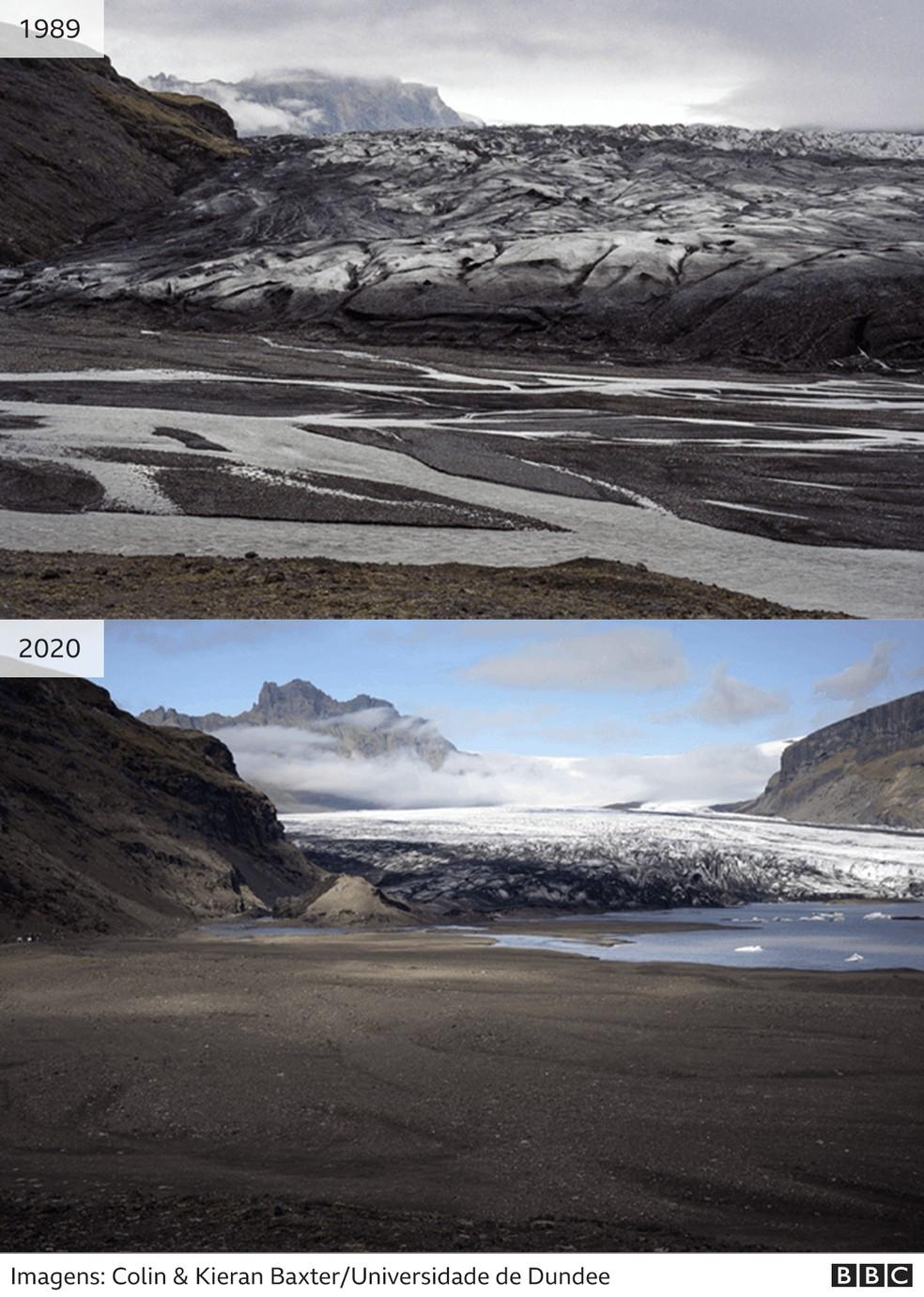Imagens do Skaftafellsjokull — Foto: BBC