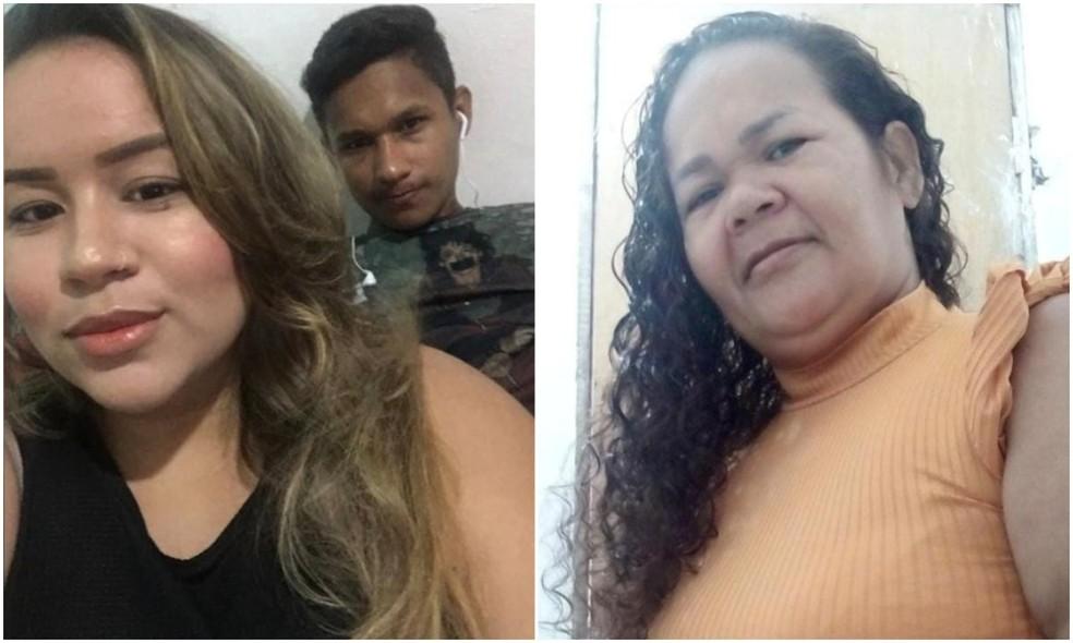 Bruno Lopes da Silva e Priscila Silva Lima (à esquerda) e Ana Célia Lopes da Silva (à direita) são as vítimas do triplo homicídio na cidade de Aquiraz. — Foto: Arquivo pessoal