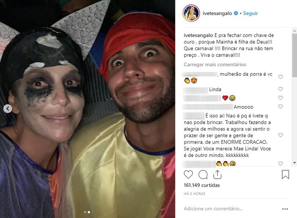 Fantasiados de pierrot, Ivete e o marido curtem carnaval de Salvador na 'pipoca' — Foto: Reprodução/Instagram